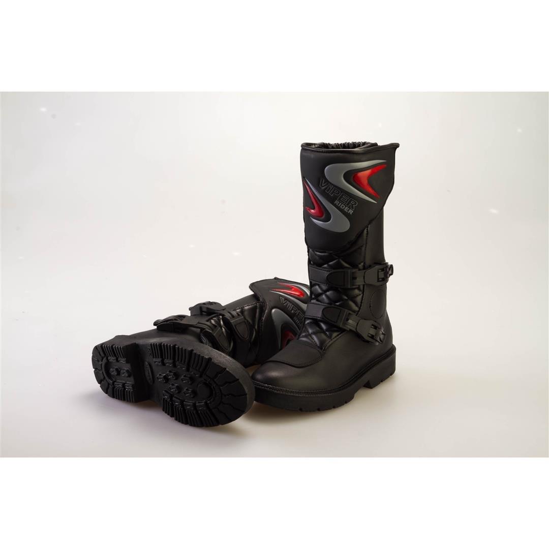 Viper K156 Bottes de moto en cuir pour enfants/Bottes avec boucles /à cliquet Noir