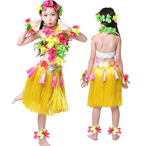 [Kids Hawaiian Hula Dance Costume Ballet Performance Cosplay Dress Skirt Garland For Girl Child 40CM Full] (Hawaiian Hula Outfits)