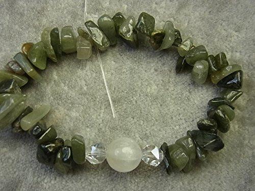 - Natural Selenite and Green Hair Rutilated Quartz Healing Stretch Bracelet