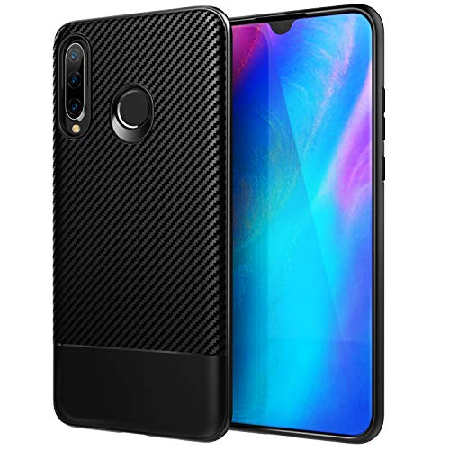 TiMOVO Compatible with Huawei P30 Lite Case, Soft Anti-Scratch TPU Bumper Cover + Carbon Fiber Cover Fit with Huawei P30 Lite - ()