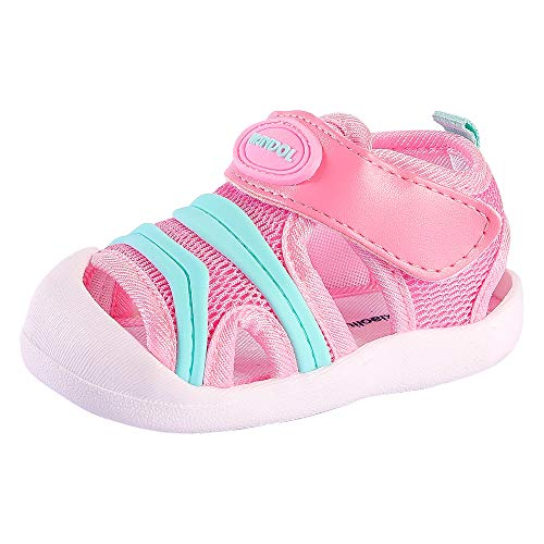 Baby Summer Sandals Breathable Mesh Rubber Sole Non-Slip Outdoor Shoes for Boys and Girls 9-30 Months (4 M US Toddler, - Sole Rubber Sandals