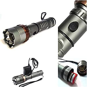 1 Set Famed 2500LM 5 Modes Tactical Flashlight LED Super Bright Aluminum Alloy Adjustable Focus Color Gray with Battery Charger