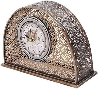 クロッククロックリビングルームの置時計装飾ヨーロッパレトロ座っているベルルームサイレント振り子時計クリエイティブ時計金属芸術的な置時計 作りがいい