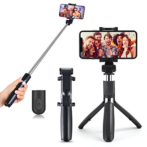 Waxden Selfie Stick Bluetooth, Extendable Selfie Stick with Wireless Remote, Tripod Stand Selfie Stick, Extendable Aluminum Rod for iPhone X/8/8P/7/7P/6/6P, Galaxy S5/S6/S7/S8, LG, HTC, Moto, Huawei