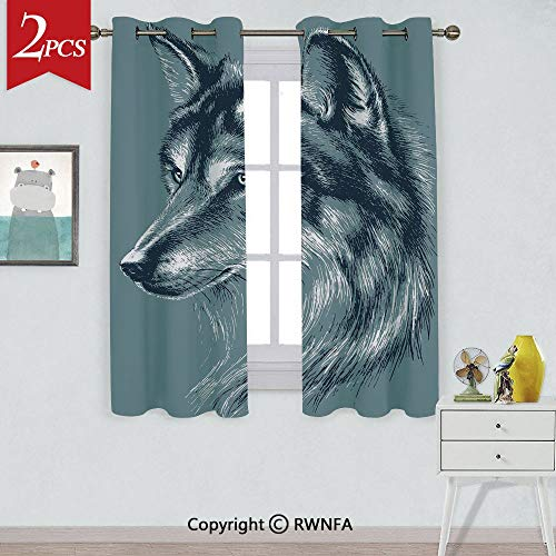 (RWNFA with Noise Reduction CurtainWild Timber Wolf Portrait Hunter Exotic Creature Mystery Mammal Artsy Graphic Window Curtains,2 Panels,Each Panel Size is,W42xL63 Inch,Slate Blue)