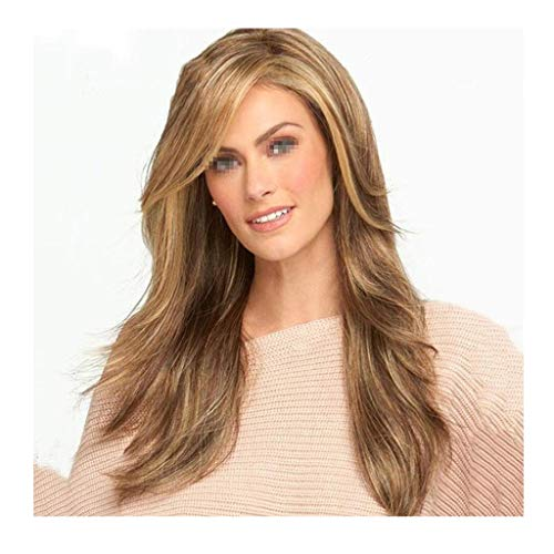 XJRHB Ladies Linen Long Curly Hair Rose Net Wig (Wig Brown Siren)