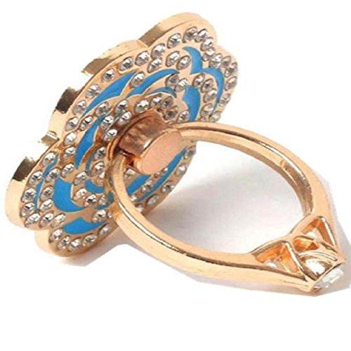 ABC® Universal Finger Stand Bracket Buckle Rose Ring Stander Phone Holder (Blue)