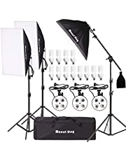 MOUNTDOG 2400W Photography Softbox Continuous Lighting Kit Studio Light Soft Box Boom Arm Stand Kit 3pcs 4 in 1 Bulb Socket Light Stand Carrying Bag of Photo Video Equipment