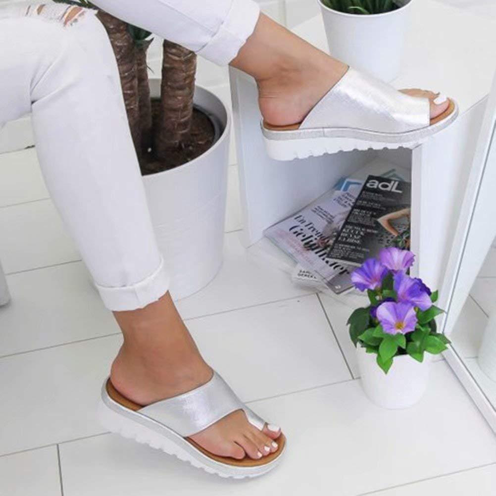 Women Sandal Comfy Platform Sandal Shoes 2052 New Summer Slides Slippers Sandal Toe Platform Flip Flop Shoes Beach Travel Shoes