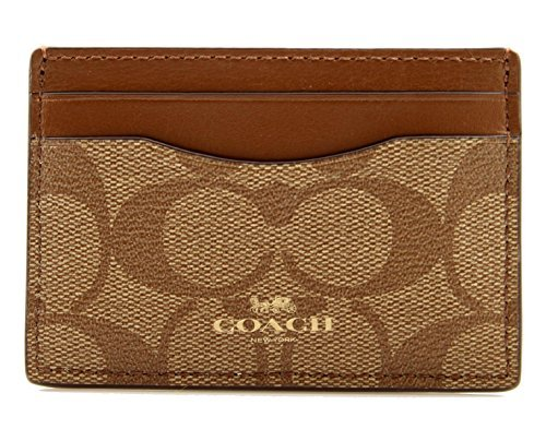 COACH Signature Card Case in Khaki/Saddle