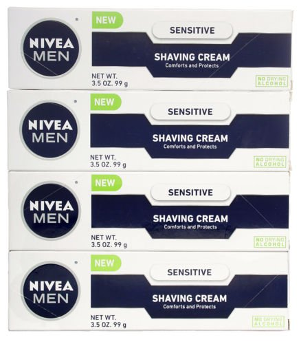 NIVEA MEN Sensitive Shaving Cream, 3.5 oz Tube (4 Pack)