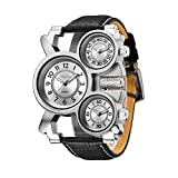 womens big dial watches - Mens Big Face Unique Military Watch - Three White Analog Dials, Japan Quartz & Genuine Strap