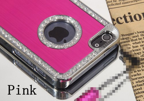 Stunning Style Iphone 5/5S Deluxe Hot Pink brushed aluminum diamond case bling cover for iphone 5/5S