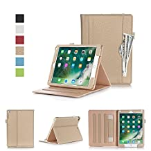 New iPad 9.7 (2017) Case, iPad Air 2 Case, KAMII Lightweight Slim Fit PU Leather Folio Flip Multi-Angle Viewing Stand Wallet Case with Auto Wake/Sleep for Apple iPad Air 2 / New iPad 9.7 Inch (Golden)