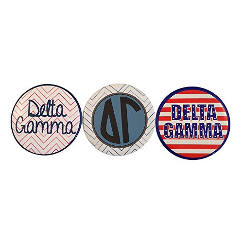 Delta Gamma Sorority Variety of 2 Inch Round Pinback Buttons (3 Different Buttons) Officially Licensed (Calvin Klein Variety Sets)