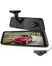 """X1PRO Caméra de recul embarquée avec écran tactile 9.88"""" Full HD 1080P avant et arrière 720P AHD IP68, caméra de recul étanche avec vision nocturne, WDR, LDWS, GPS, réglage de la luminosité de la voiture"""