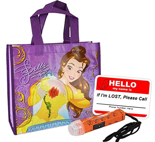UPD Disney Beauty The Beast Princess Belle Resuable Small Sized Halloween Trick Treat Loot Bag!! Plus Bonus Safety First Sticker & Mini Halloween Flashlight Necklace.