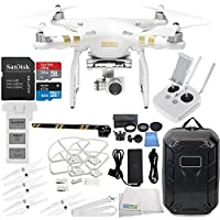 DJI Phantom 3 4K & Manufacturer Accessories + DJI Propeller Set + Water-Resistant Hardshell Backpack + MORE (DJI Official Refurbished)