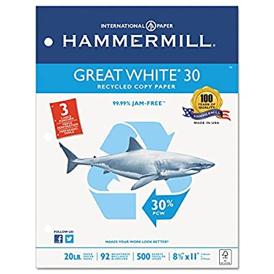 Hammermill 86702 Great White Recycled Copy 3-Hole Punched, 92 Brightness, 20lb, Letter, 5000/Ctn
