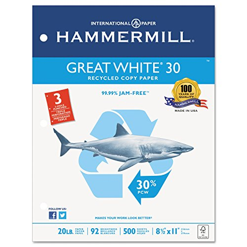 Hammermill 86702 Great White Recycled Copy 3-Hole Punched, 92 Brightness, 20lb, Letter, ()