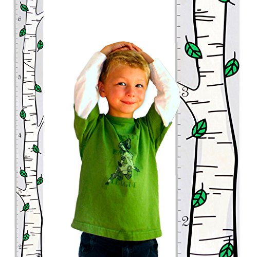 "Growth Chart Art | Hanging Wooden Height Growth Chart to Measure Baby, Children, Grandchildren, Twins, Siblings - Birch Trees with Green Leaves - Wall Decoration for Girls and Boys - 58""x5.75"" - New Hampshire State Tree"