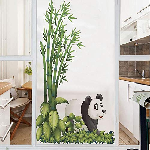 Decorative Window Film,No Glue Frosted Privacy Film,Stained Glass Door Film,Happy Panda With Tropical Plants Bamboo Trees Endangered Mammals Cartoon Art,for Home & Office,23.6In. by 47.2In Green Black