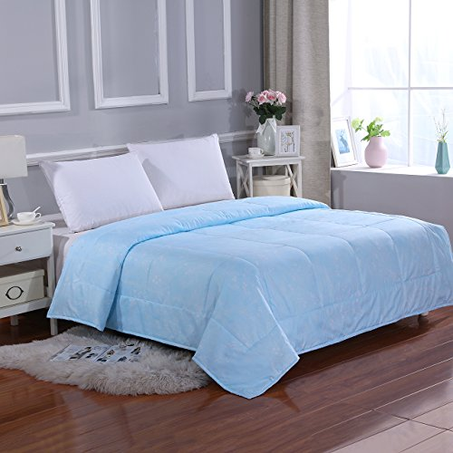 All Season Super Soft Microfiber Comforter Queen Light Blue by MELODY HOUSE