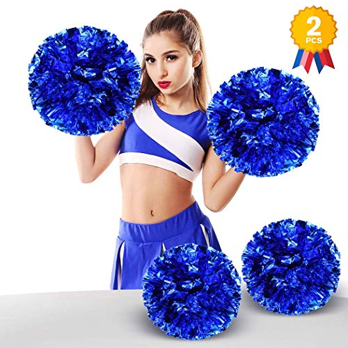 ANALAN 21 Colors Pack of 2 Foil Plastic Metallic Cheerleading Pom Poms for Cheer Sport Kids Adults(Blue) -