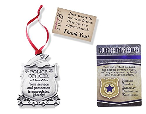 Officer Keepsake Police (Police Officer Appreciation Gift | Cathedral Art Police Officer Pewter Appreciation Ornament and Police Officers Prayer Card | Inspirational Keepsakes in Bundle of 2 Items)