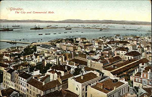 City and Commercial Mole Gibraltar, Gibraltar Original Vintage Postcard