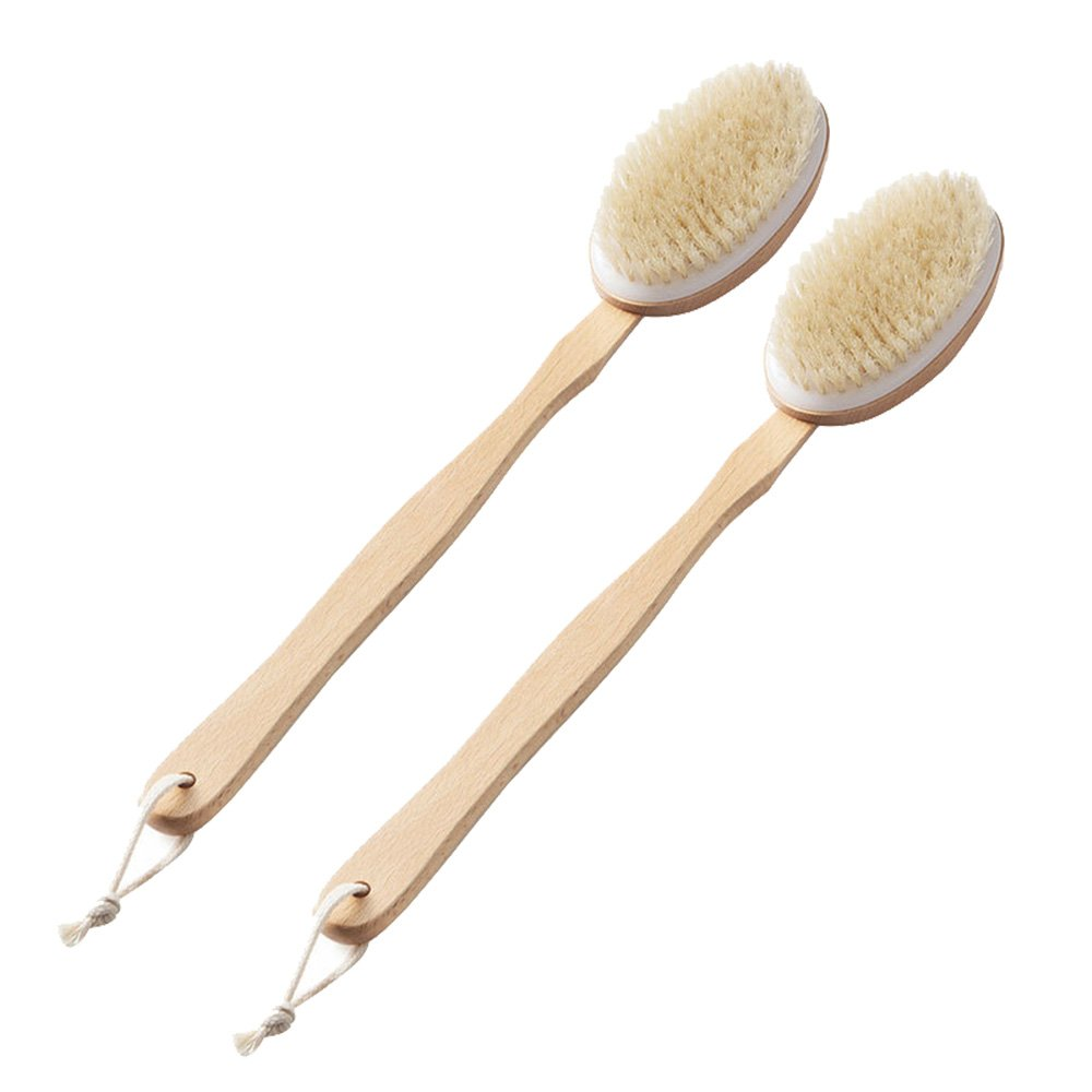 MyLifeUNIT ducha cuerpo cepillo, cepillo exfoliante para espalda de madera con mango desmontable (2unidades) AV-9GNJ-L1ZU