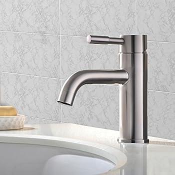 vccucine single handle waterfall bathroom lavatory vanity vessel sink faucet tall body brushed nickel