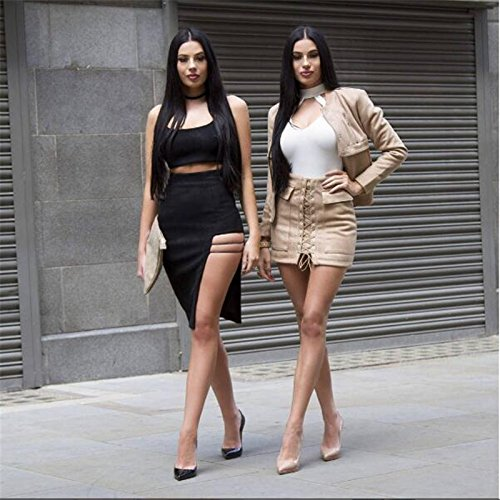 un Black de Vestido Vestido Cabaret Split Sostén Arnés con Moda XL de Noche único Black XL E08x7qgS