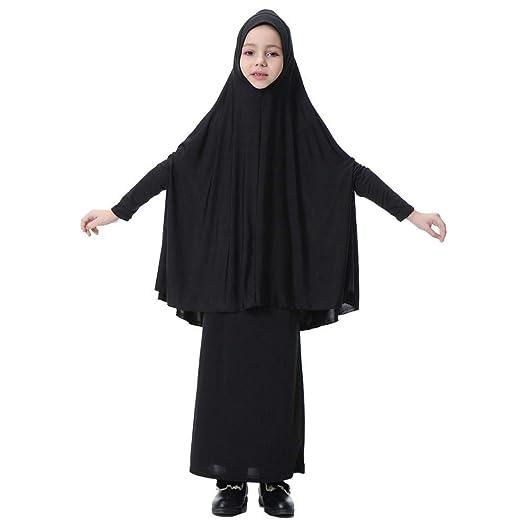 Amazoncom Fiaya Kids Little Girls Two Piece Muslim Gown Long