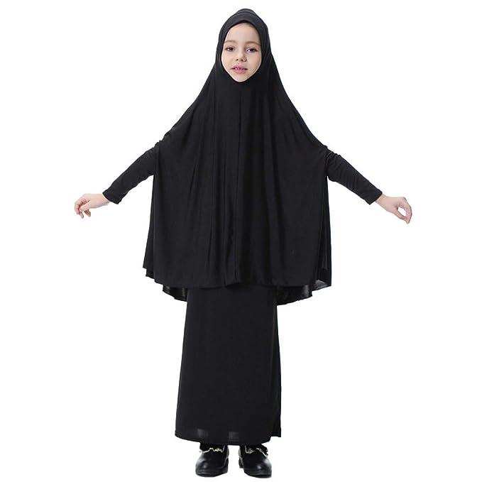 Amazon.com: Fiaya Kids Little Girls Two-Piece Muslim Gown Long ...