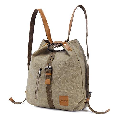 Backpack Convertible Shoulder Multifunctional Khaki Women Ladies Purse Handbag Canvas JOSEKO Casual Bag Bag qXxAxB6f