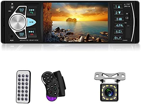 4.1 TFT Touch Screen Car MP5 Player Support Bluetooth Aux-in//USB//SD//FM/&AM Quick Charge with 12 LED Lights Camera Liehuzhekeji Single Din Car Stereo AM Radio Receiver