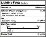 Philips Halogen Clear Dimmable A19 Light Bulb: 750-Lumen, 2920-Kelvin, 43-Watt (60-Watt Equivalent), Medium Screw Base, Bright White, 24-Pack