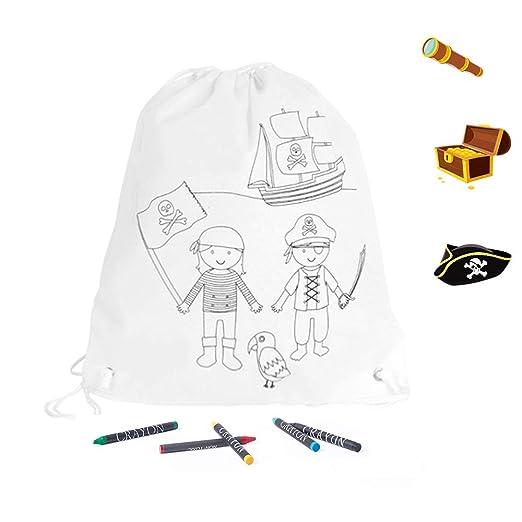 Mochila infantil piratas con 4 ceras para colorear. LOTE DE ...