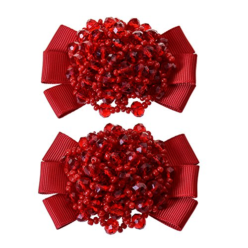 Douqu Grosgrain Ribbon Bow Fashion Hand Beaded Crystal Shoe Clips Charms Pair Black Champagne Red Pink (Hand Beaded Pink Ribbon)