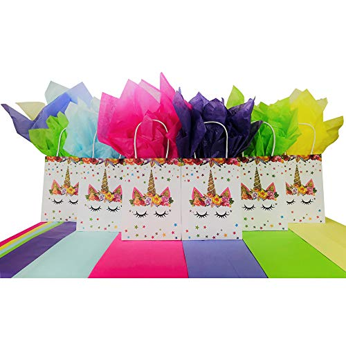 Unicorn Party Gift Bags for | Favors | Birthday | Treat | Goodie | Candy | Paper Bags with Rainbow Tissue Paper (Set of 6 Bags/12 Pieces Tissue Paper)