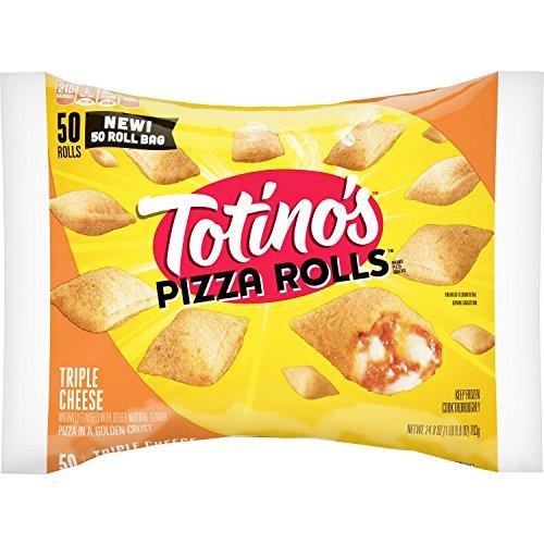 - Totino's Pizza Rolls, Triple Cheese, 50 Rolls, 24.8 oz Bag (frozen)
