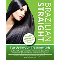 Brazilian Straight Top-Up Keratin Treatment Kit, Home Use Treatment Kit, Salon Quality Hair Straightening / Blow Dry / Smoothing, 100ml