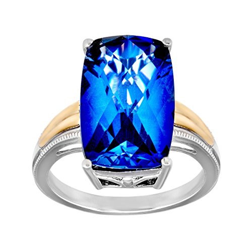 (10 ct Created Ceylon Sapphire Ring in Sterling Silver and 14K Gold)
