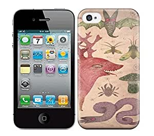 Best Power(Tm) HD Colorful Painted Watercolor A Biological Drawing By Vladimir Stankovic Of Fantasy Creatures And Insects Hard Phone Case For Iphone 4/4S