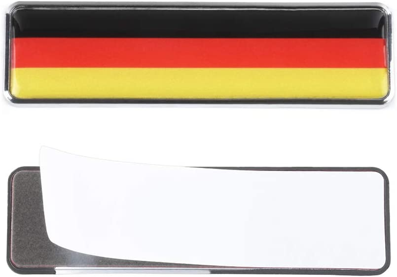 1797 Car Stickers Decals Accessories Germany German GE Flag Europe Metal Vehicle Decorations Emblem Door Bumper Trunk Tailgate Aluminum Alloy Waterproof Cute Funny Cool Black Red Yellow Pack of 2
