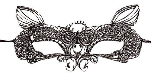 Maze Women's Elegant Venetian Style Black Filigree Lace Eye Mask With Ears, 1- One (Plain Masquerade Masks In Bulk)