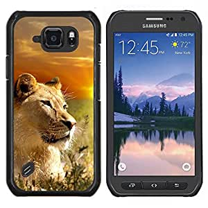 "Be-Star Único Patrón Plástico Duro Fundas Cover Cubre Hard Case Cover Para Samsung Galaxy S6 active / SM-G890 (NOT S6) ( León Naturaleza Savannah África Sunset Sun"" )"