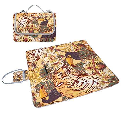 Coosun Tropical Floral Tigre Couverture de pique-nique Sac pratique Tapis résistant aux moisissures et étanche Tapis de camping pour les pique-niques, les plages, randonnée, Voyage, Rving et sorties