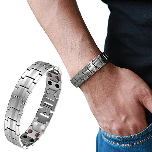 Refined Man's Titanium Energy Therapy Bracelet with Strong Magnets Germanium, Free Link Removal Kit